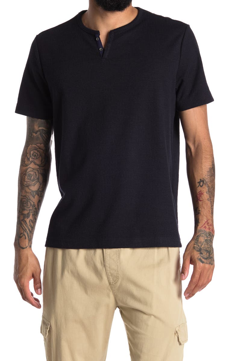 CONSTRUCT Solid Waffle Texture Short Sleeve Henley Shirt, Main, color, NAVY