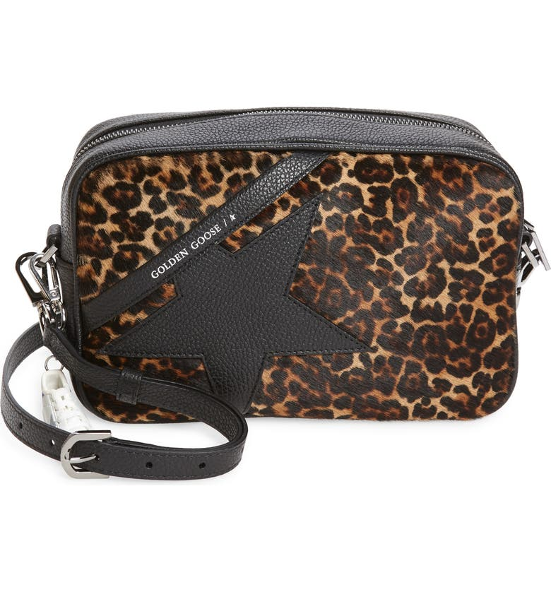 GOLDEN GOOSE Star Leopard Print Genuine Calf Hair & Leather Camera Bag, Main, color, BROWN LEOPARD