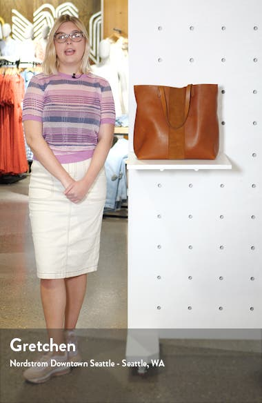 Suede Stripe Transport Leather Tote, sales video thumbnail