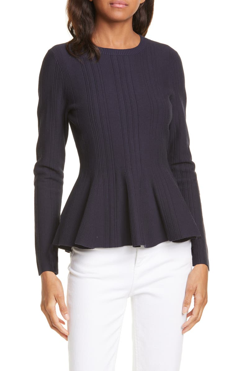 TED BAKER LONDON Beffi Ribbed Peplum Sweater, Main, color, 410