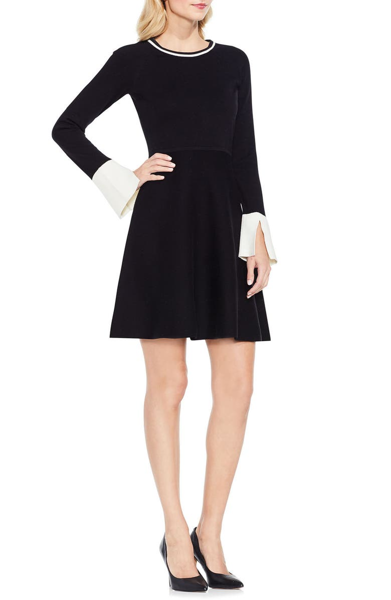 VINCE CAMUTO Fit & Flare Sweater Dress, Main, color, 006