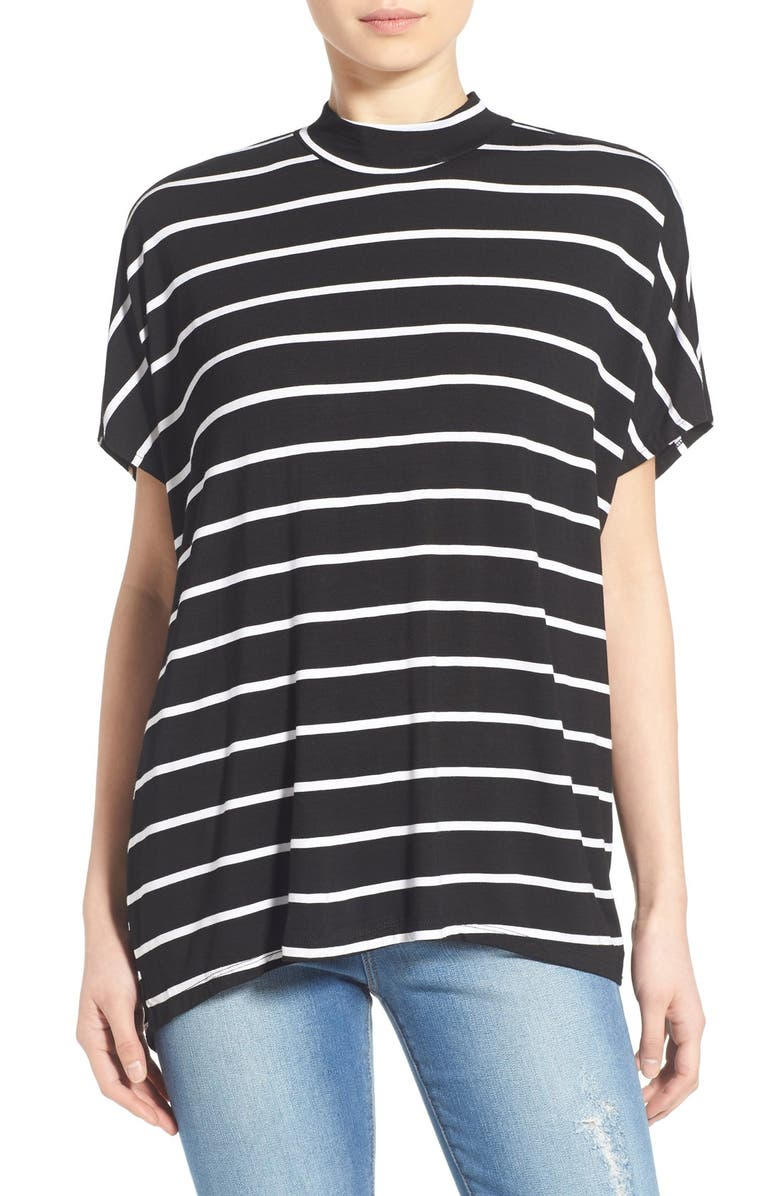 MIMI CHICA Stripe Mock Neck Tee, Main, color, 001