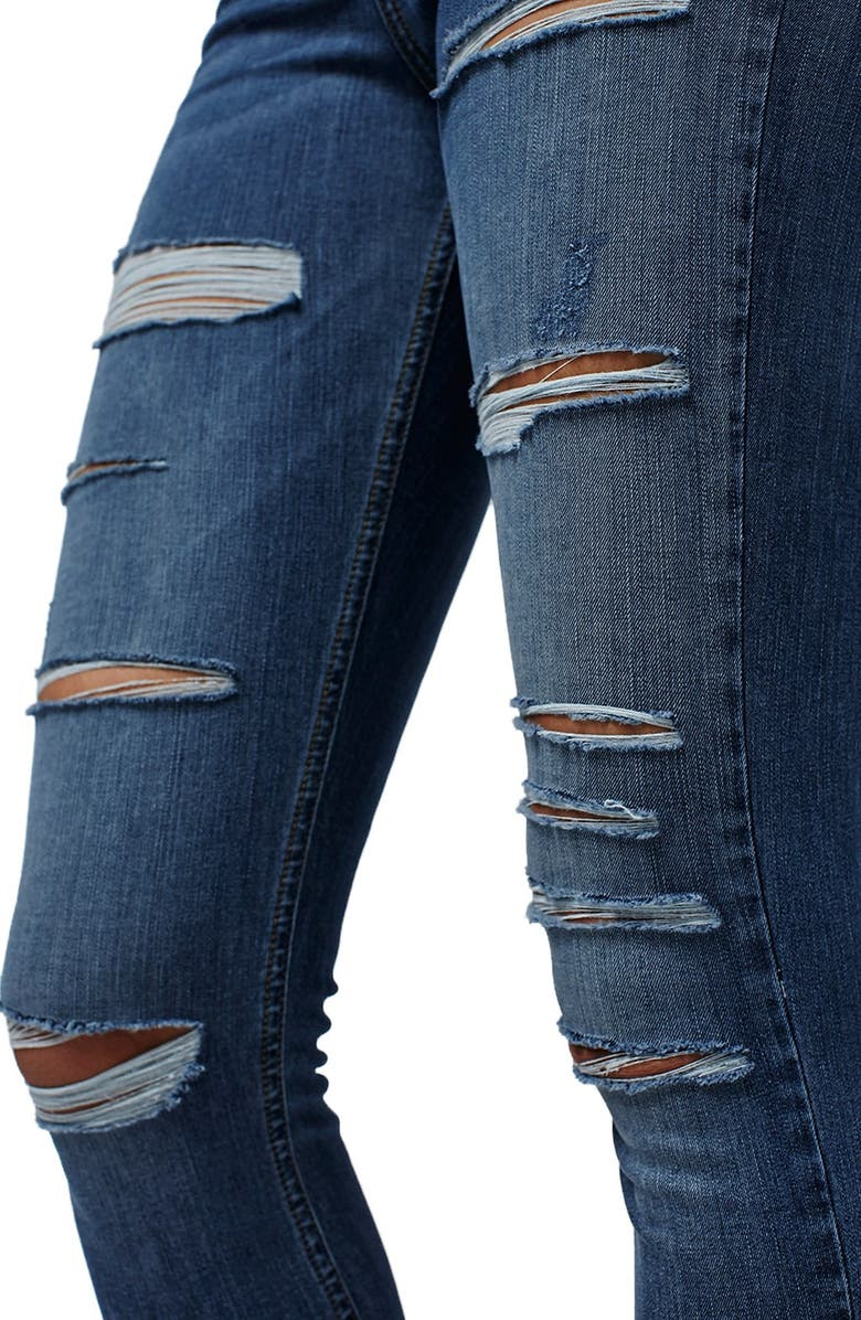 TOPSHOP Jamie Ripped High Rise Skinny Jeans, Main, color, BLUE