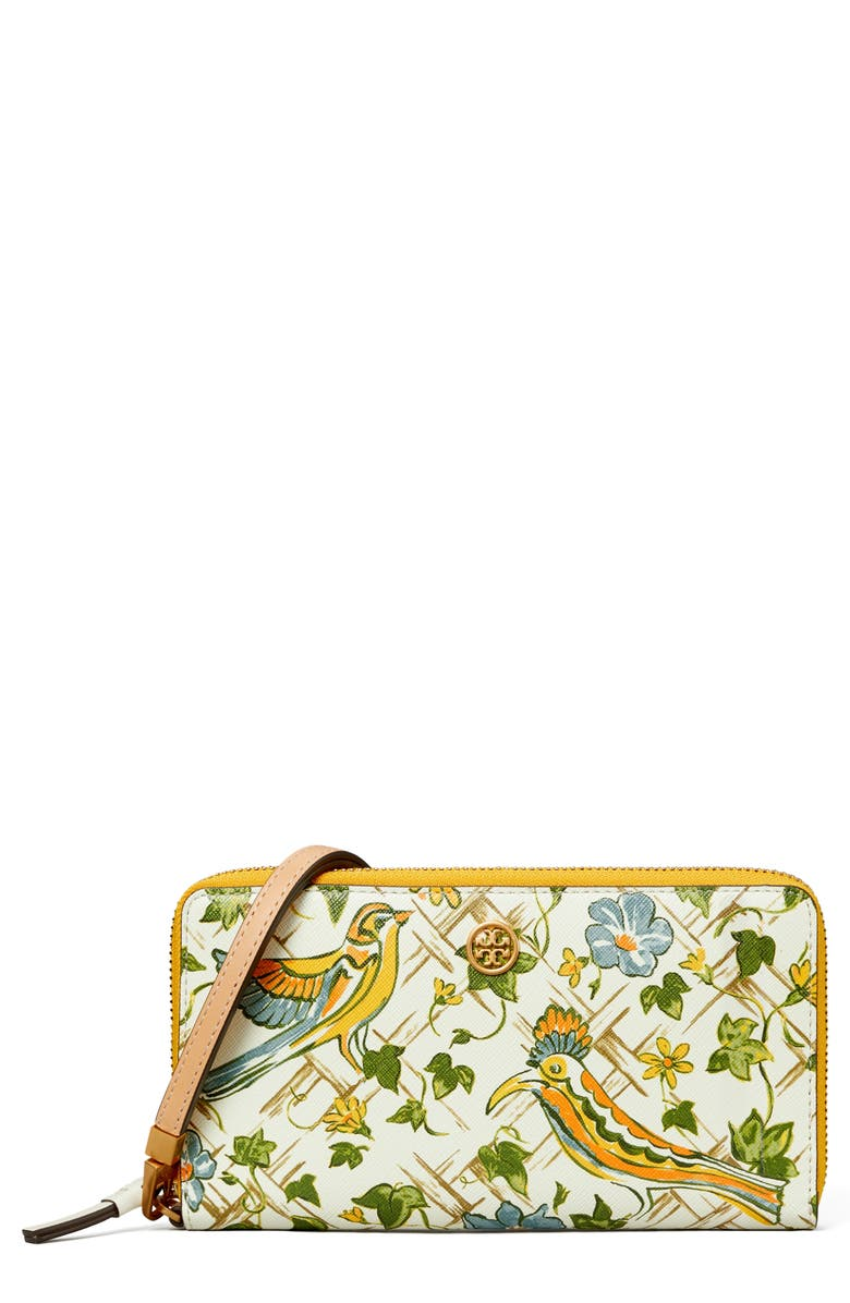 TORY BURCH Robinson Print Leather Continental Wallet, Main, color, SUMMER BASKETWEAVE