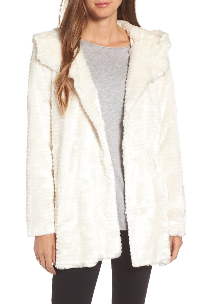 VINCE CAMUTO Hooded Faux Fur Coat, Main, color, White
