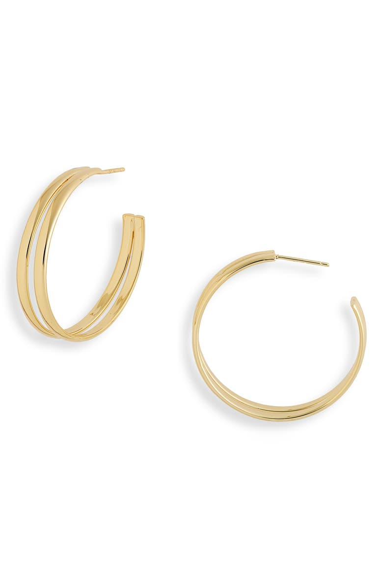 ARGENTO VIVO STERLING SILVER Double Row Hoop Earrings, Main, color, GOLD