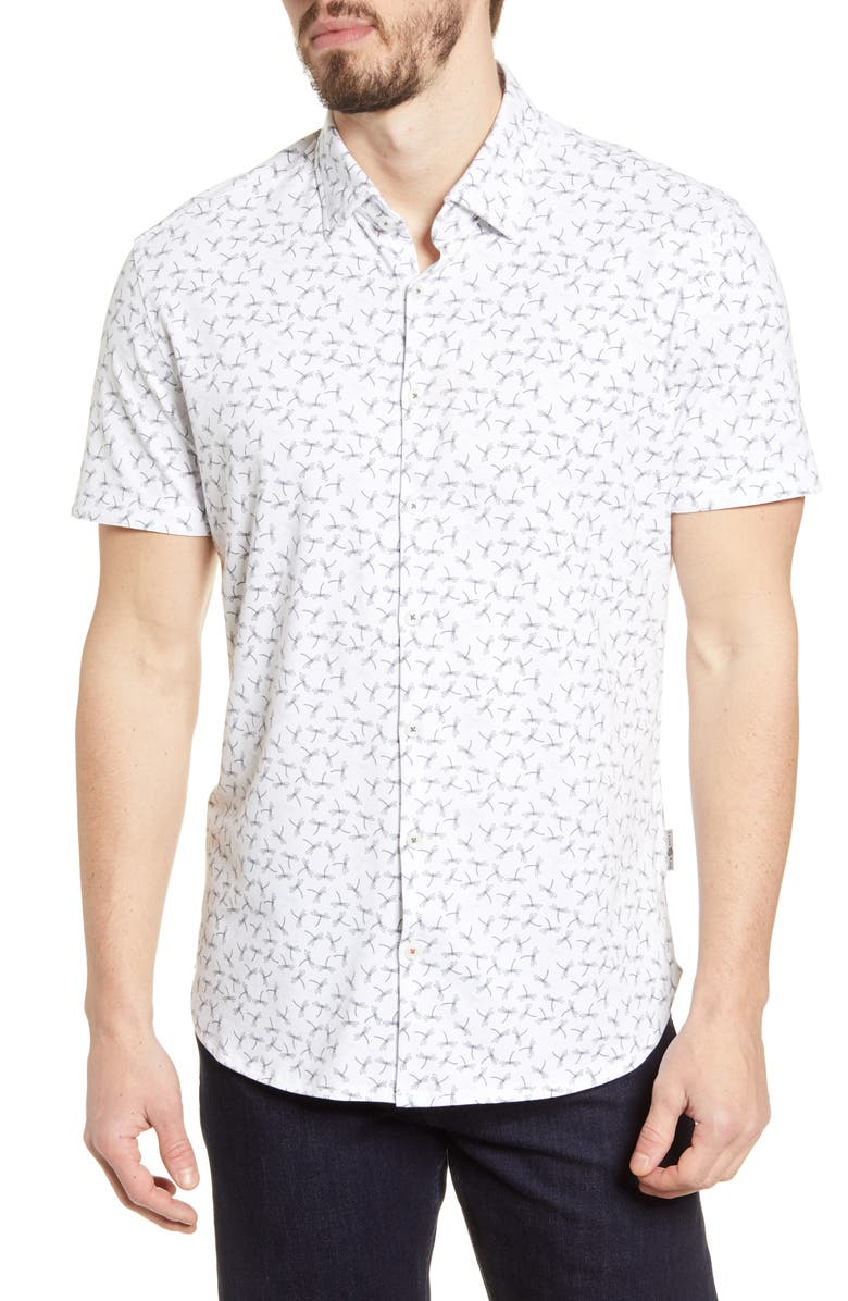 STONE ROSE Short Sleeve Tech Knit Button-Up Shirt, Main, color, WHITE