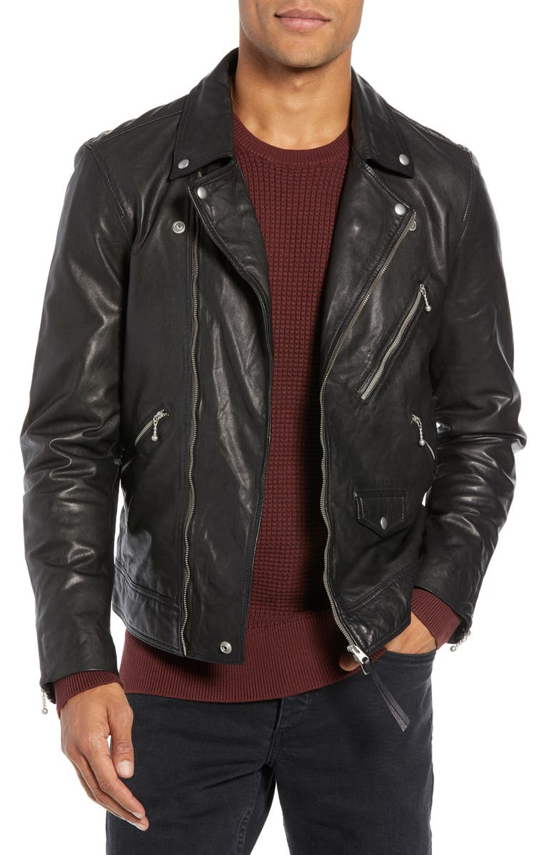 ALLSAINTS Holt Slim Fit Leather Biker Jacket, Main, color, 001