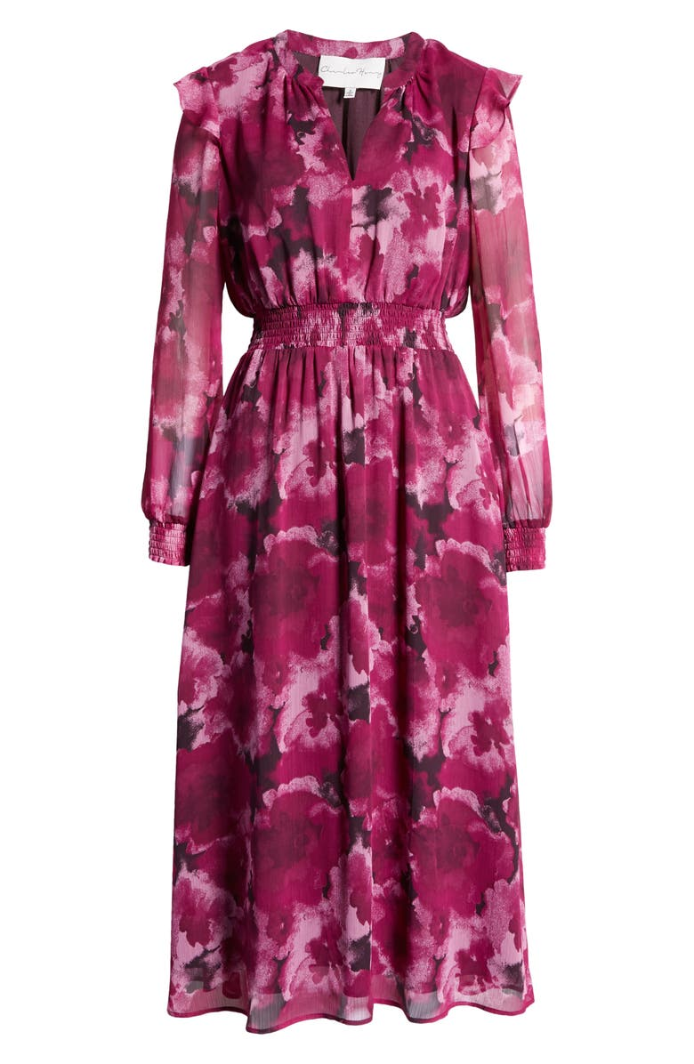 CHARLES HENRY Floral Long Sleeve Smocked Midi Dress, Main, color, DAHLIA FLORAL