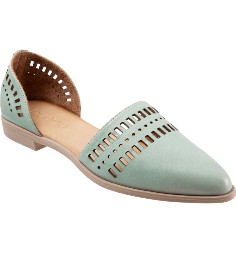 BUENO Beth d'Orsay Flat, Main, color, PALE GREEN LEATHER