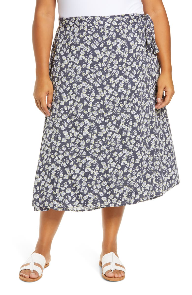 CASLON<SUP>®</SUP> Faux Wrap Midi Skirt, Main, color, 030