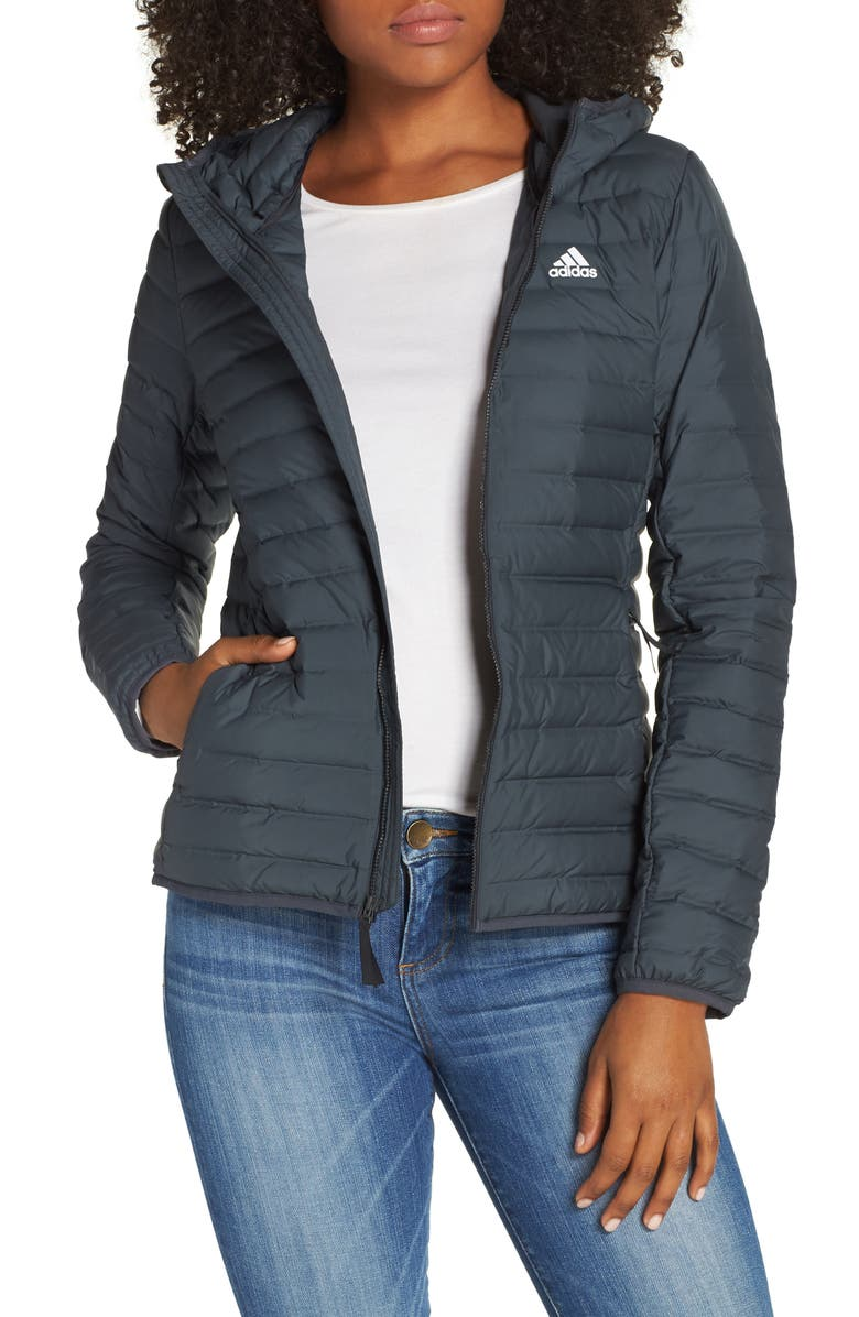 ADIDAS Varilite Water Repellent Hooded 600-Fill-Power Down Jacket, Main, color, CARBON