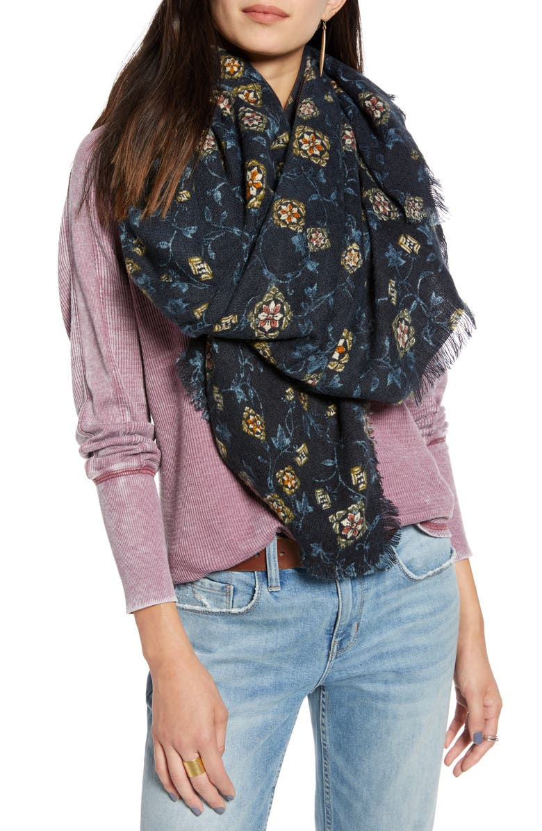 TREASURE & BOND Floral Print Scarf, Main, color, 410