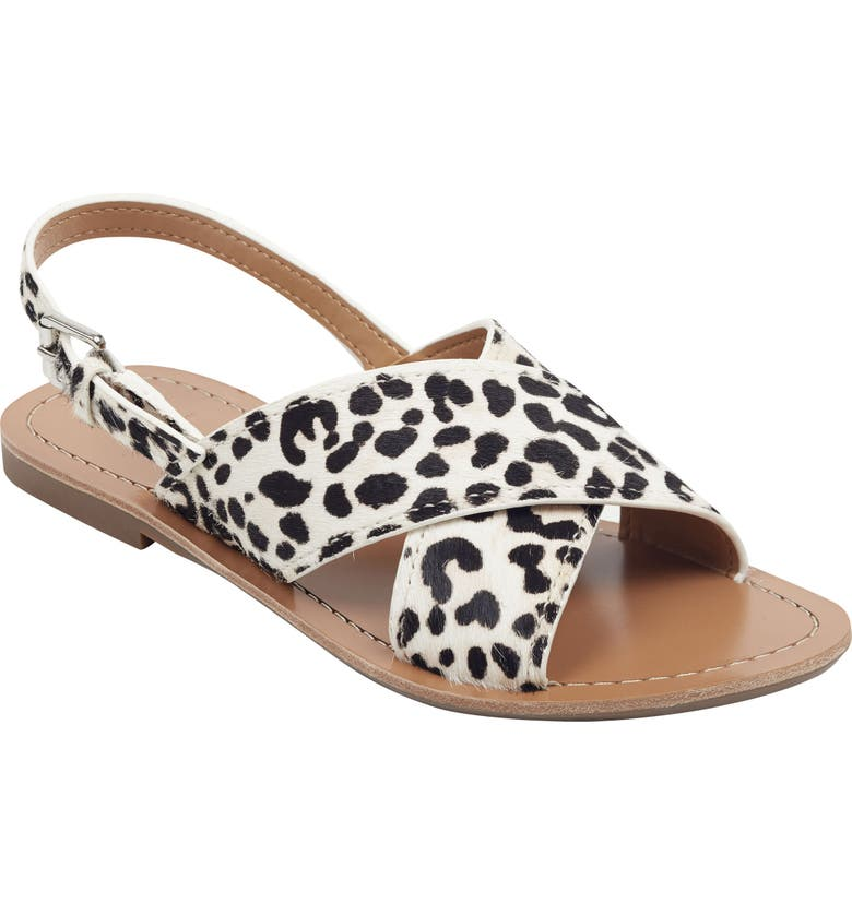 MARC FISHER LTD Rite Sandal, Main, color, WHITE SPOTTED PONY HAIR