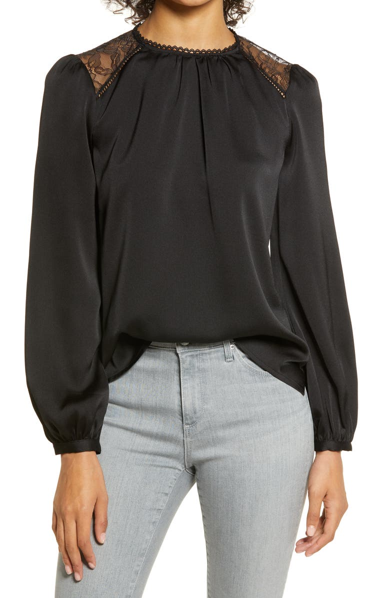 VINCE CAMUTO Lace Inset Top, Main, color, 001