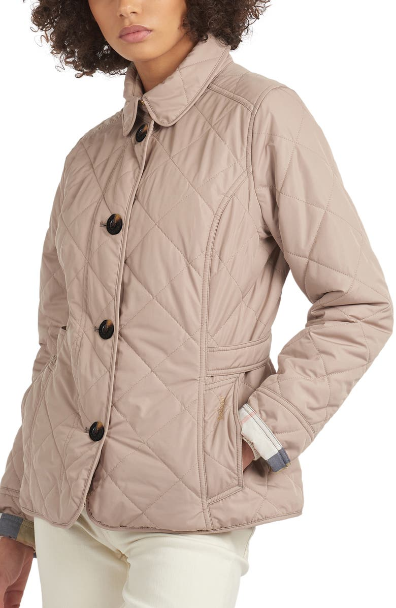 BARBOUR Nelson Quilted Jacket, Main, color, LT TRENCH/OLIVE MIST TARTAN