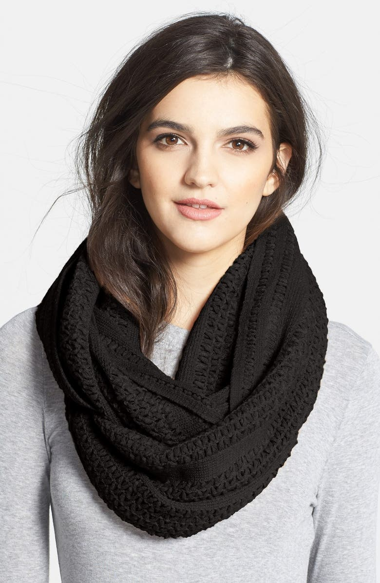 COLLECTION XIIX 'Cross Stitch' Infinity Scarf, Main, color, Black