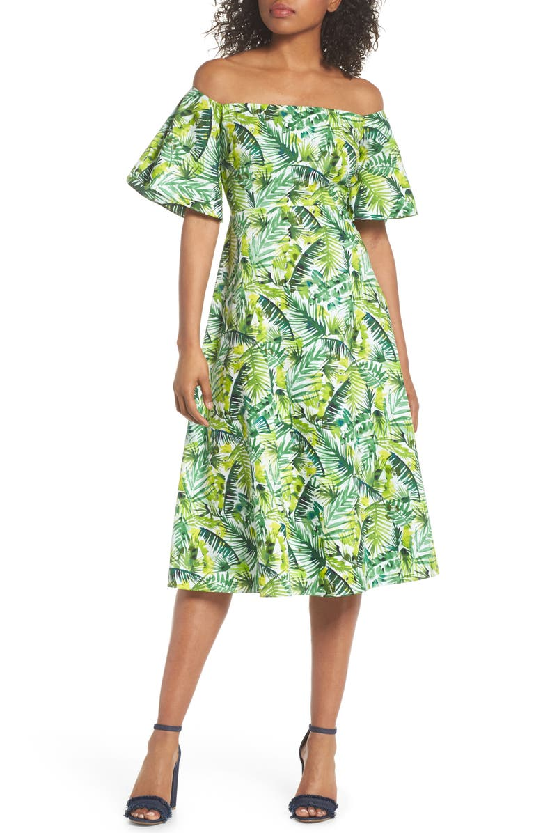 CLOVER AND SLOANE Palm Print Off the Shoulder Dress, Main, color, SOFT WHITE/ GREEN