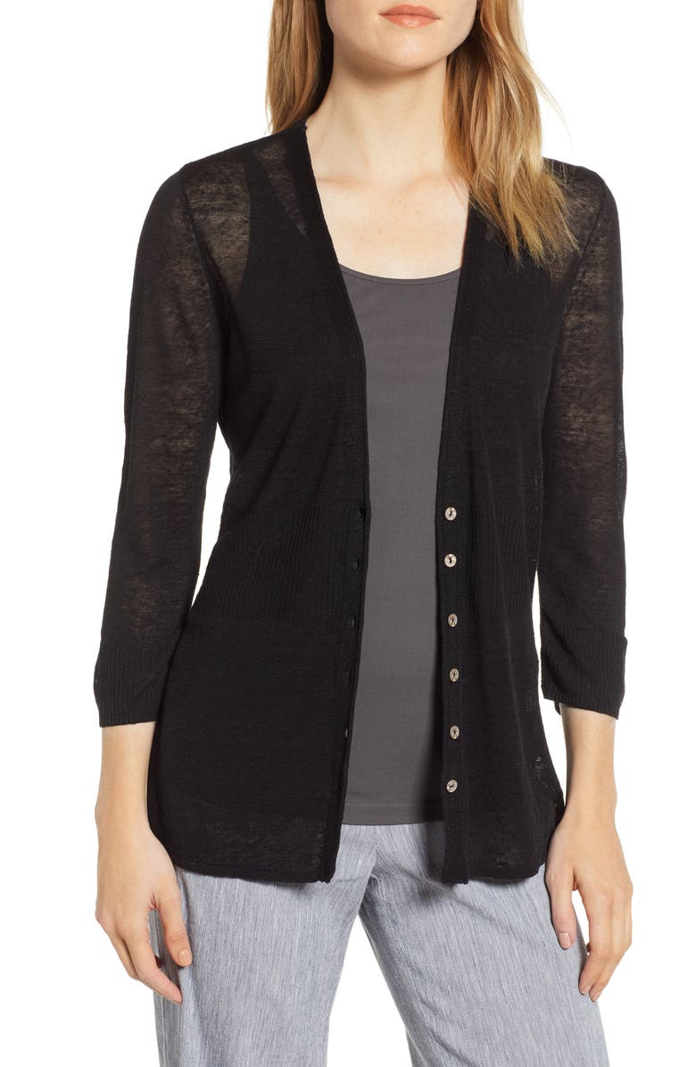 NIC+ZOE Back of the Chair Cardigan, Main, color, BLACK ONYX