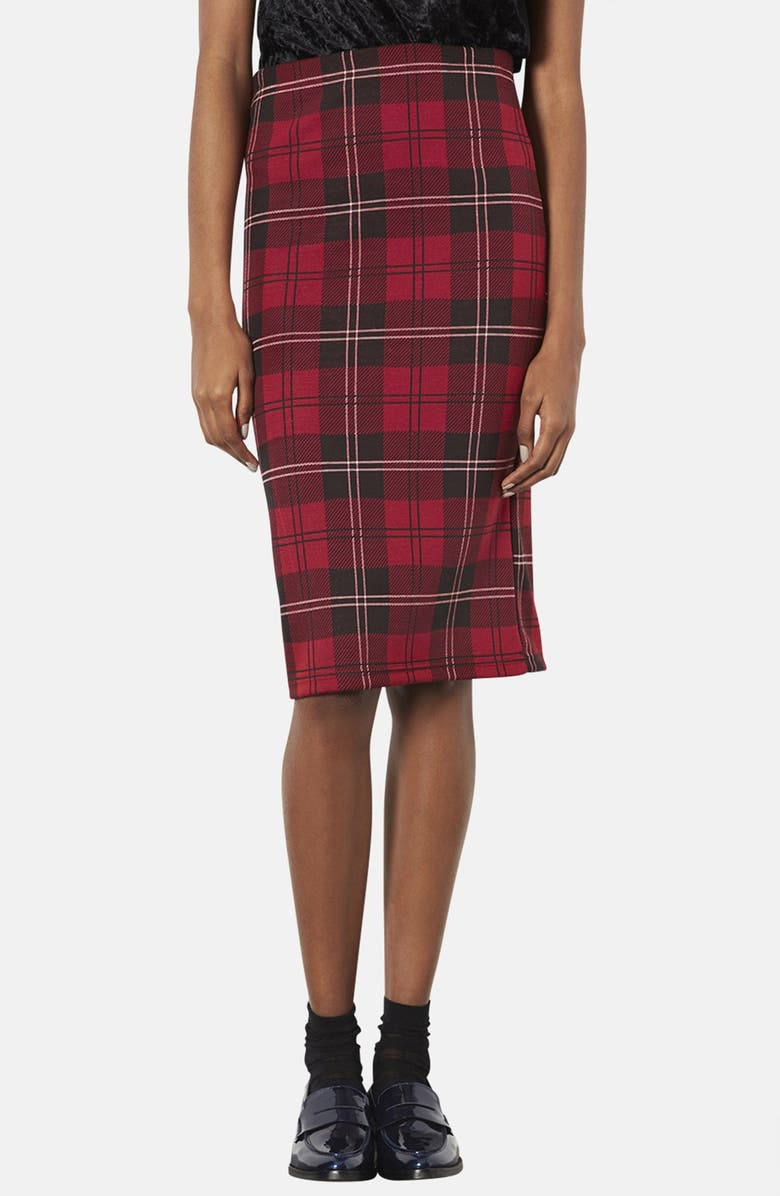 TOPSHOP Plaid Tube Skirt, Main, color, RED