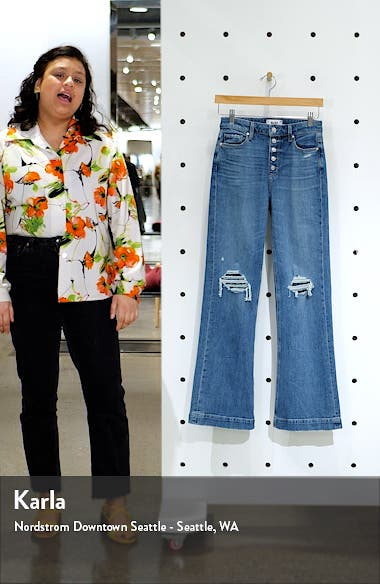 Leenah High Waist Exposed Button Fly Flare Leg Jeans, sales video thumbnail