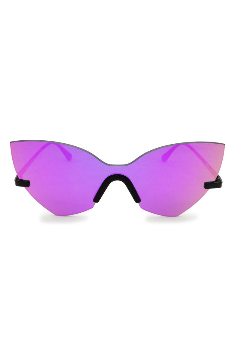 GLASSING 55mm Cat Eye Shield Sunglasses, Main, color, 500