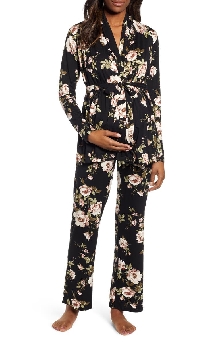 ANGEL MATERNITY Floral Maternity/Nursing Pajamas, Main, color, 001