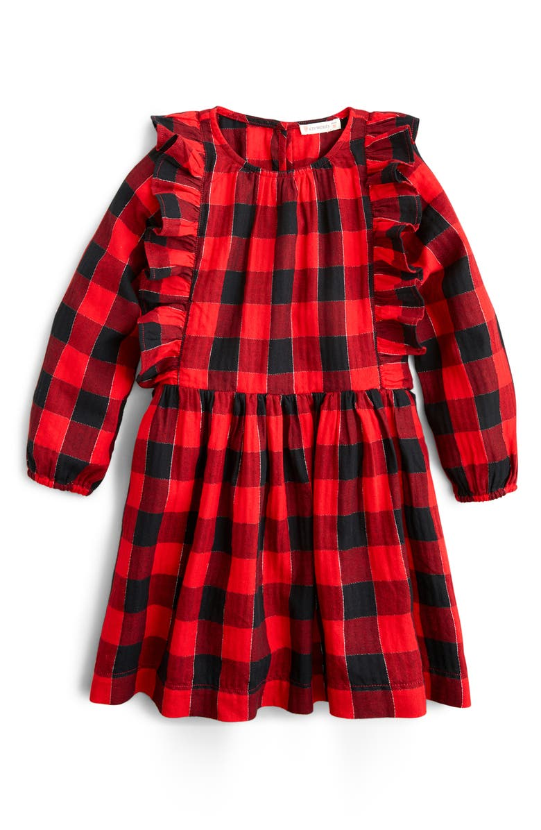 CREWCUTS BY J.CREW Plaid Ruffle Trim Flannel Dress, Main, color, 600