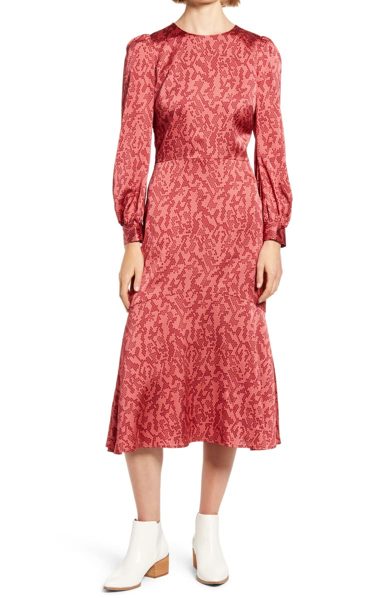 CHELSEA28 Print Long Sleeve Midi Dress, Main, color, RED ABSTRACT SNAKE