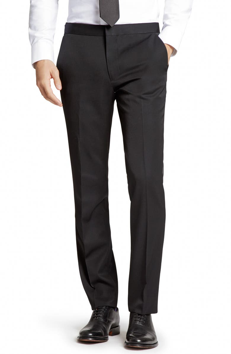 BONOBOS Slim Fit Flat Front Wool Tuxedo Trousers, Main, color, 001