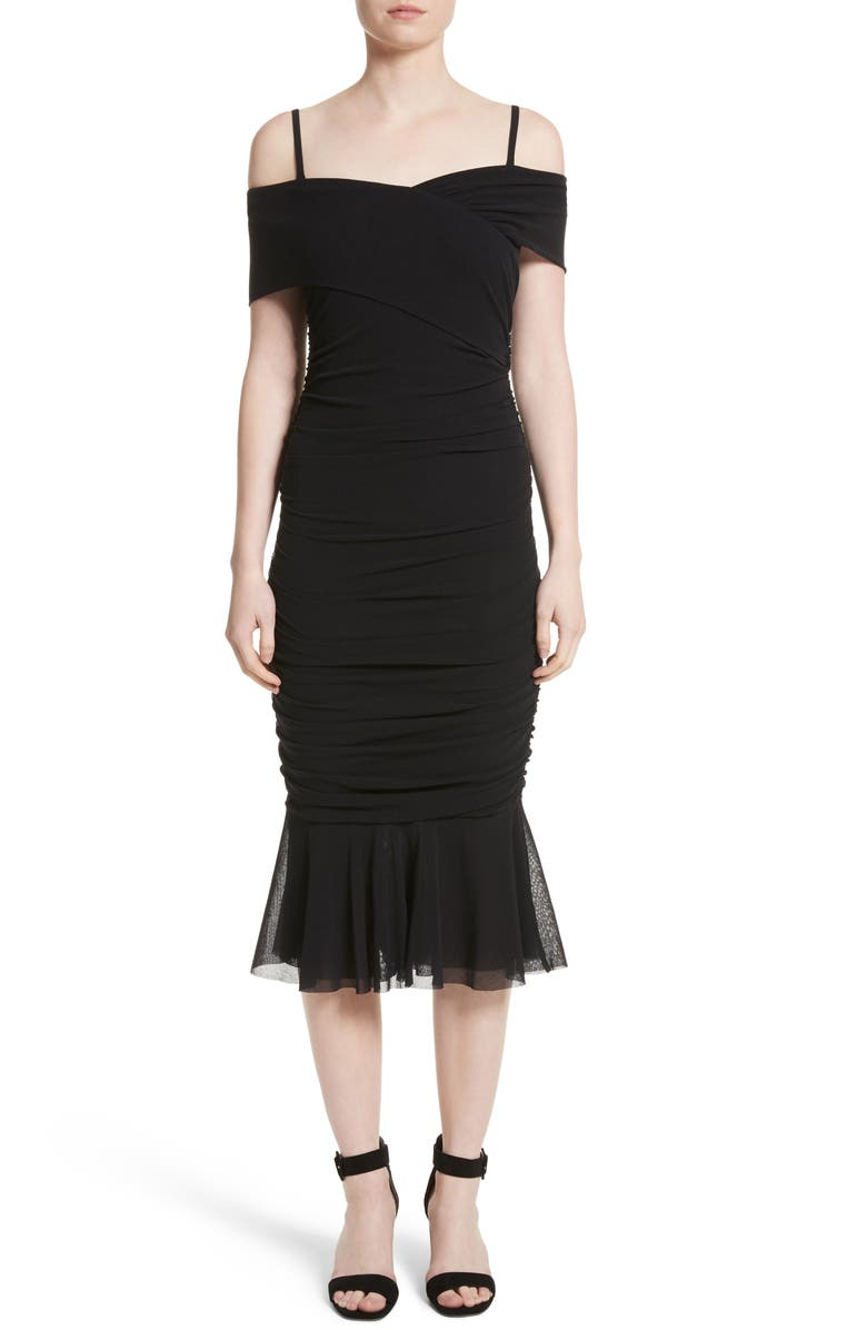 FUZZI Ruched Tulle Cold Shoulder Dress, Main, color, 001