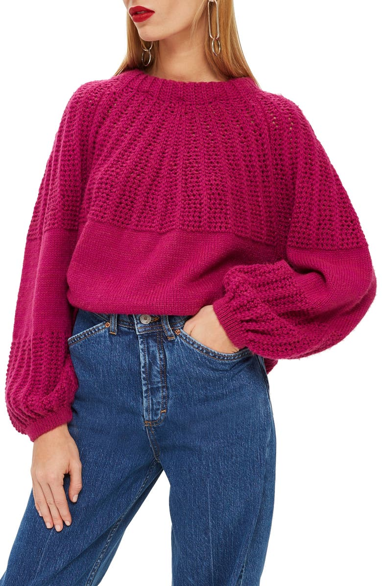 TOPSHOP Pointelle Ball Sleeve Sweater, Main, color, 500