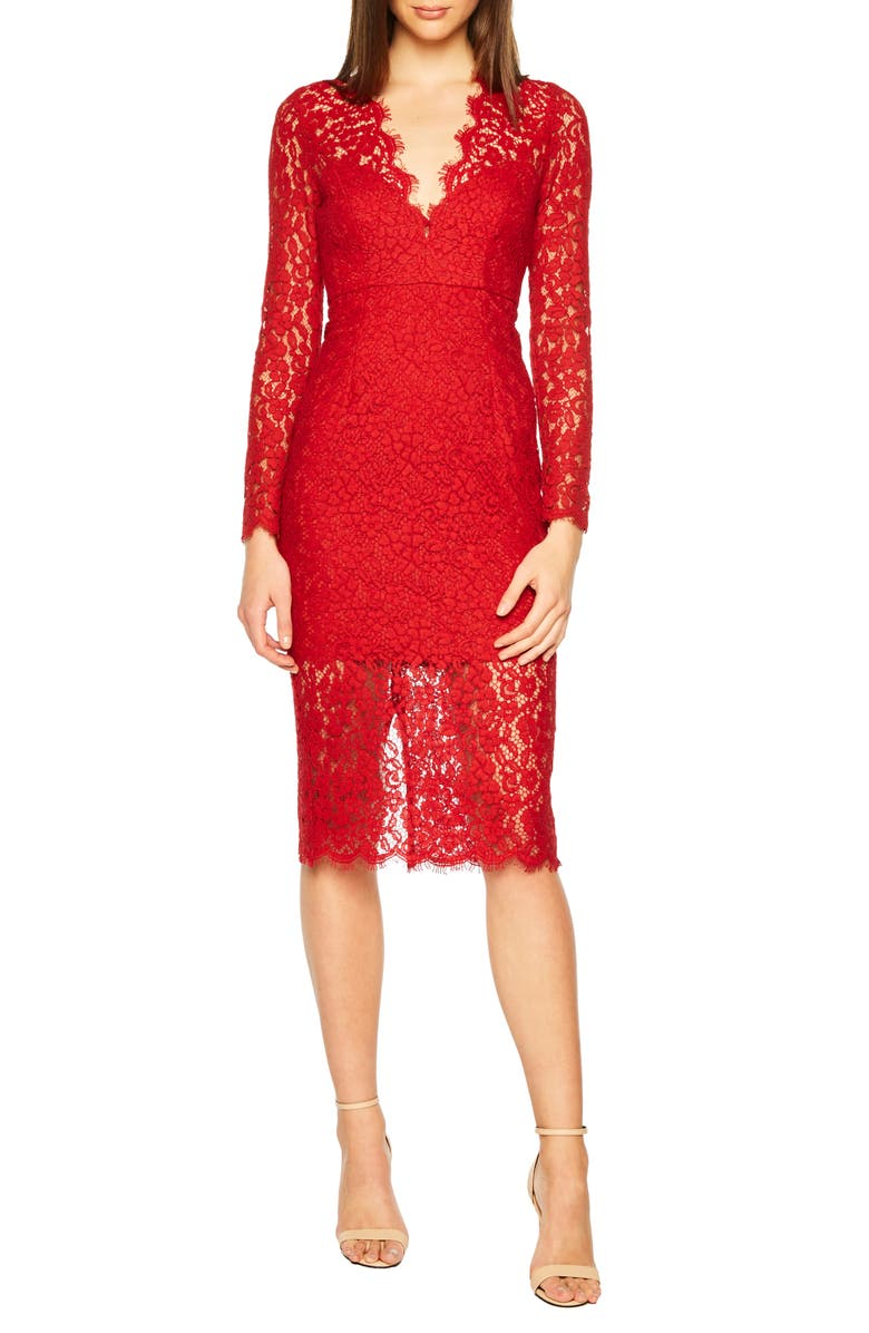 BARDOT Midnights Lace Dress, Main, color, FAMOUS RED