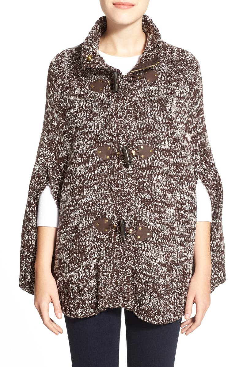 MICHAEL MICHAEL KORS Toggle Front Sweater Knit Cape, Main, color, CHOCOLATE