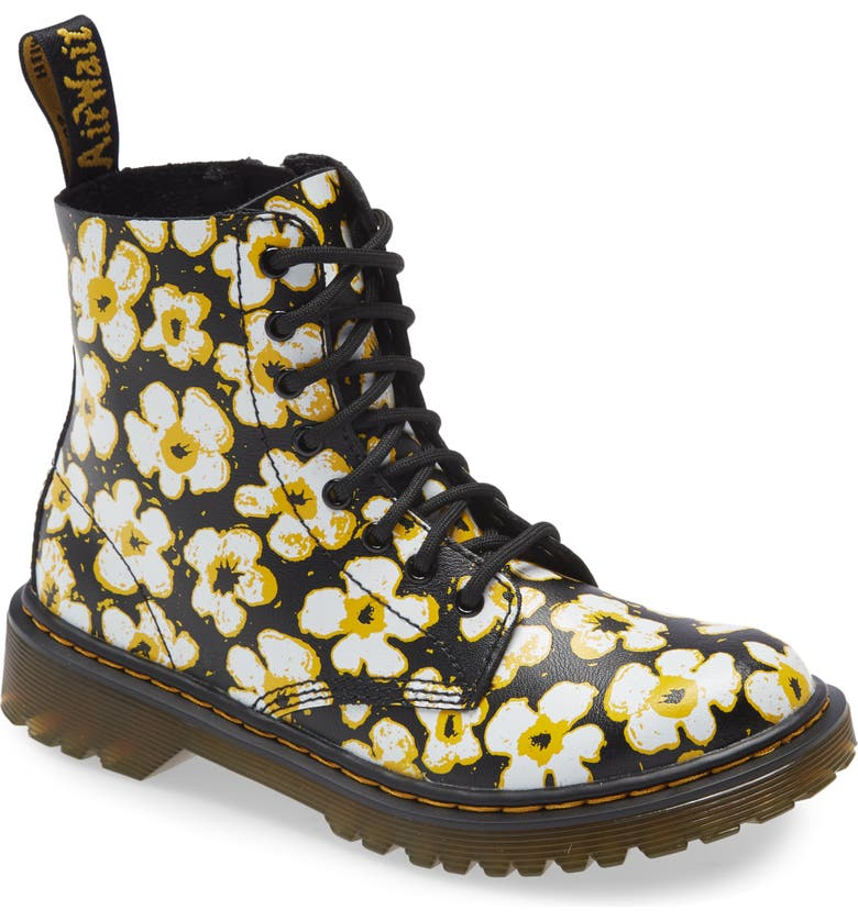 DR. MARTENS 1460 Pascal Pansy Print Boot, Main, color, BLACK/ YELLOW