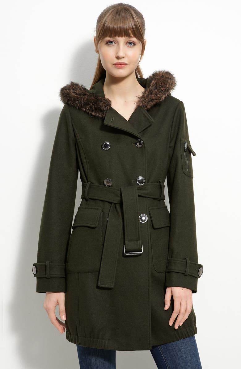 STEVE MADDEN Double Breasted Coat with Faux Fur Trim, Main, color, 300