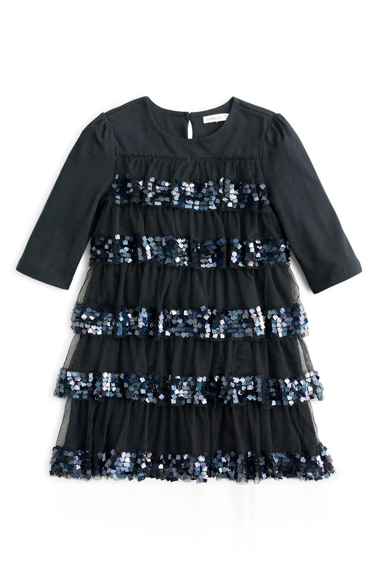 CREWCUTS BY J.CREW Tiered Sequin & Tulle Party Dress, Main, color, 001