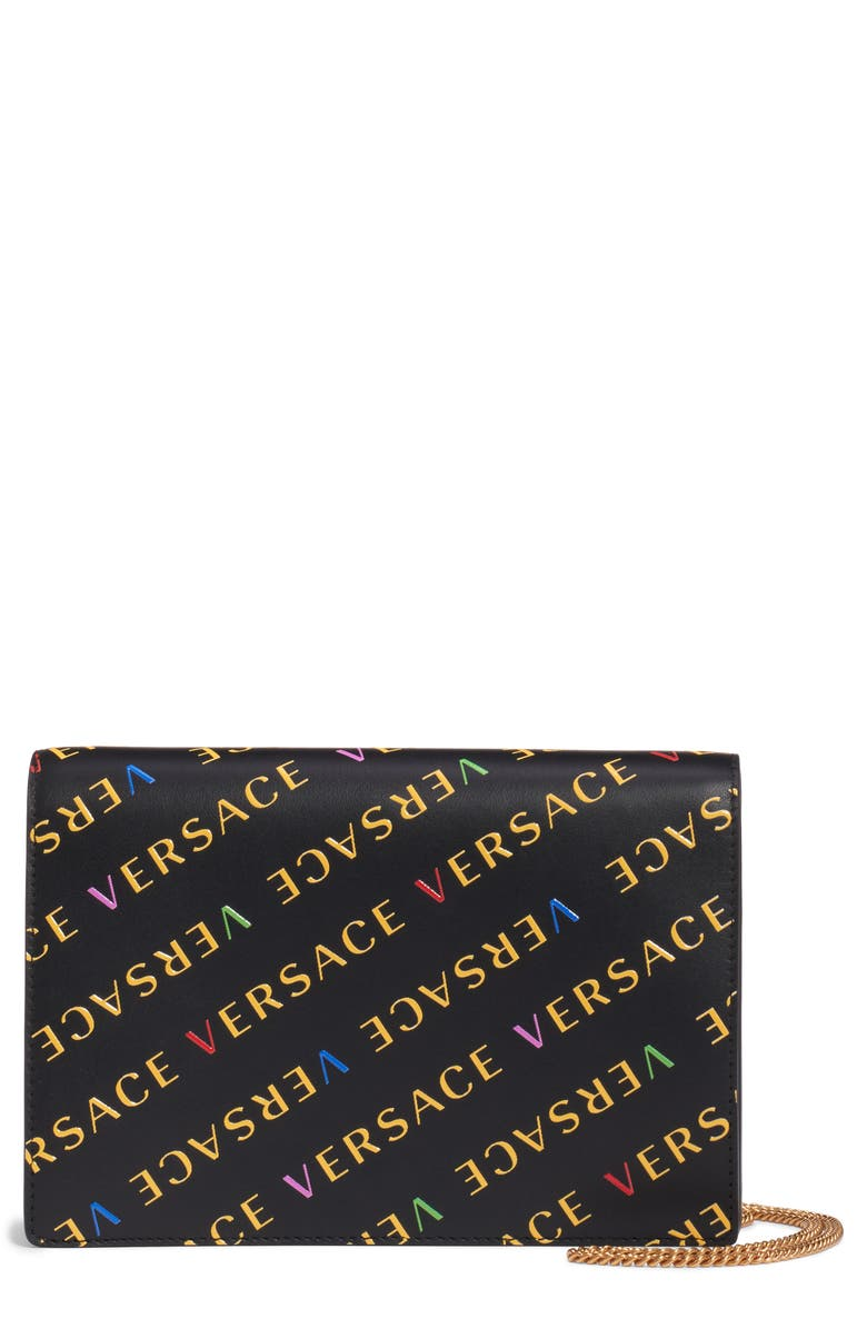 VERSACE First Line Logo Leather Wallet on a Chain, Main, color, 003