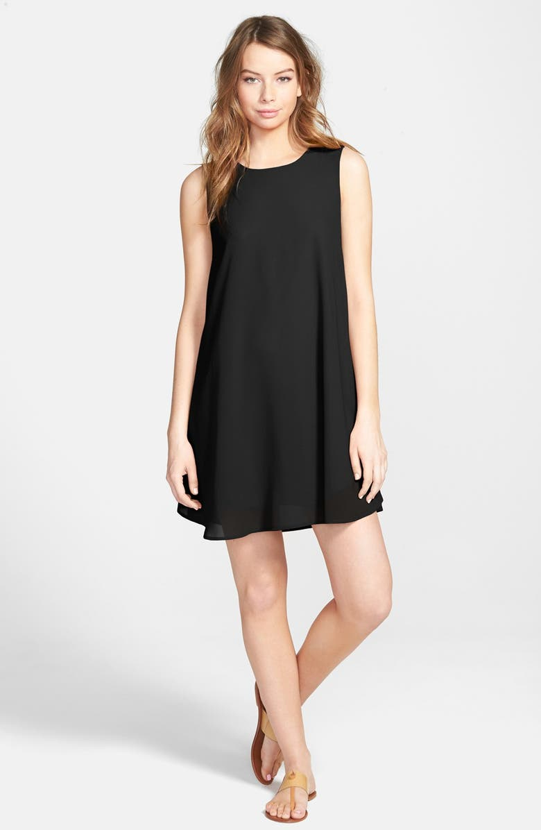 EVERLY Woven Shift Dress, Main, color, Black