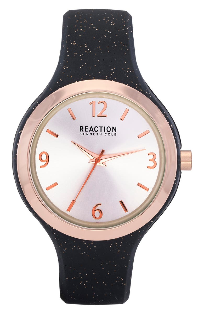 KENNETH COLE REACTION Women's Reaction 3 Hands Silver Dial Silicone Watch, 42mm, Main, color, BLACK