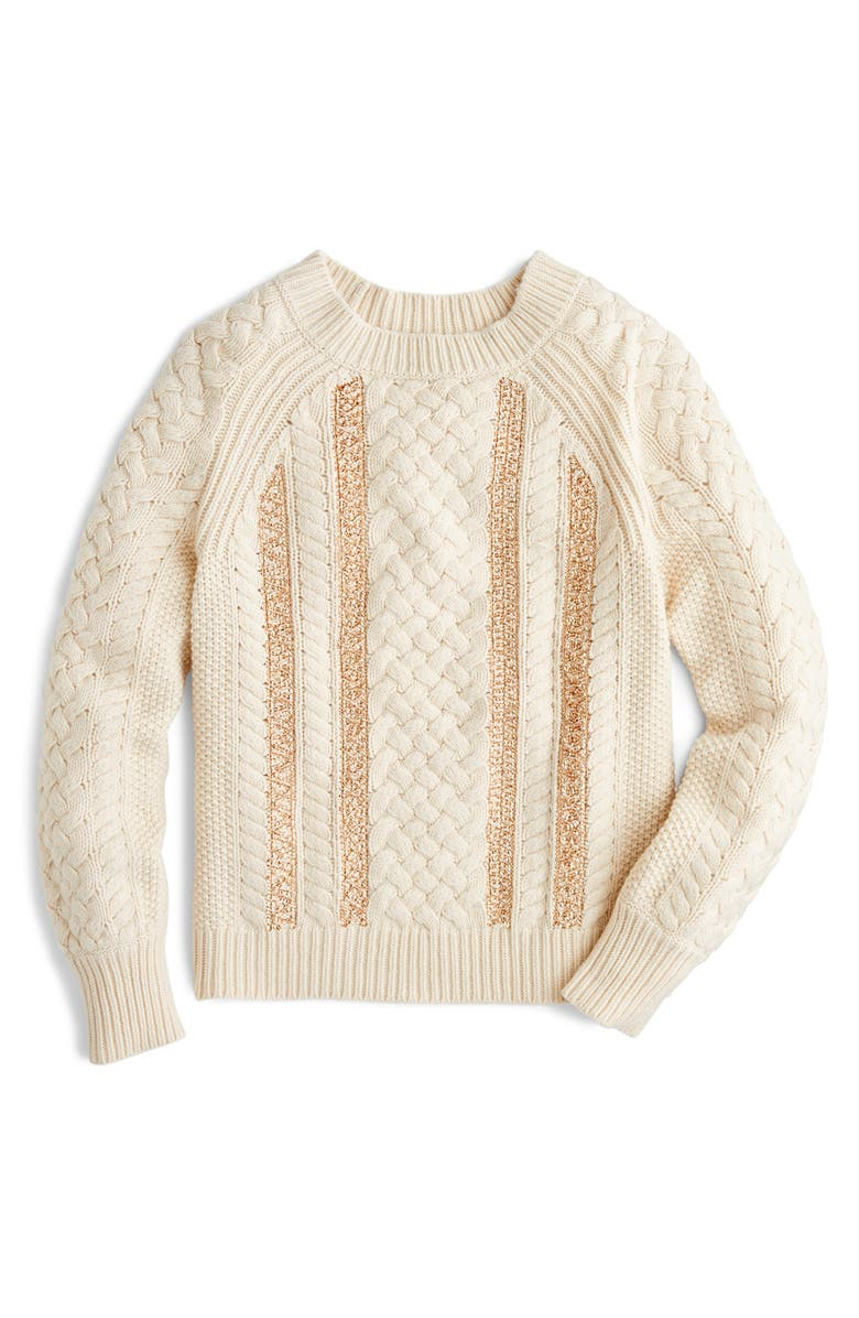 J.CREW Cable Knit Sequin Sweater, Main, color, 900