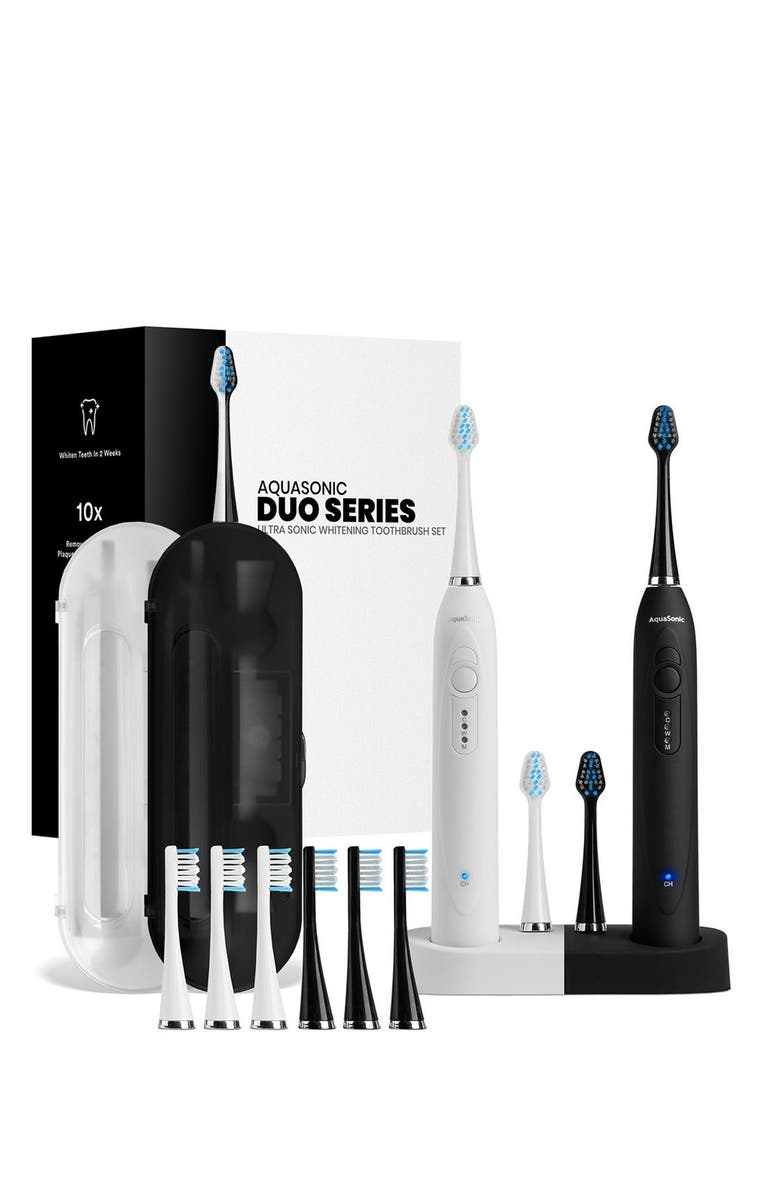 AQUASONIC DUO Dual Ultrasonic Toothbrushes with 10 DuPont Brush Heads & 2 Travel Cases, Main, color, NO COLOR