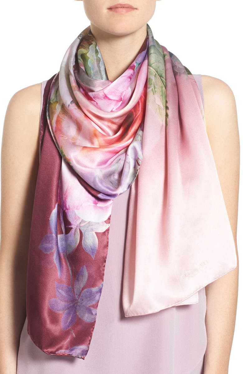TED BAKER LONDON 'Pure Peony' Print Silk Scarf, Main, color, OXBLOOD
