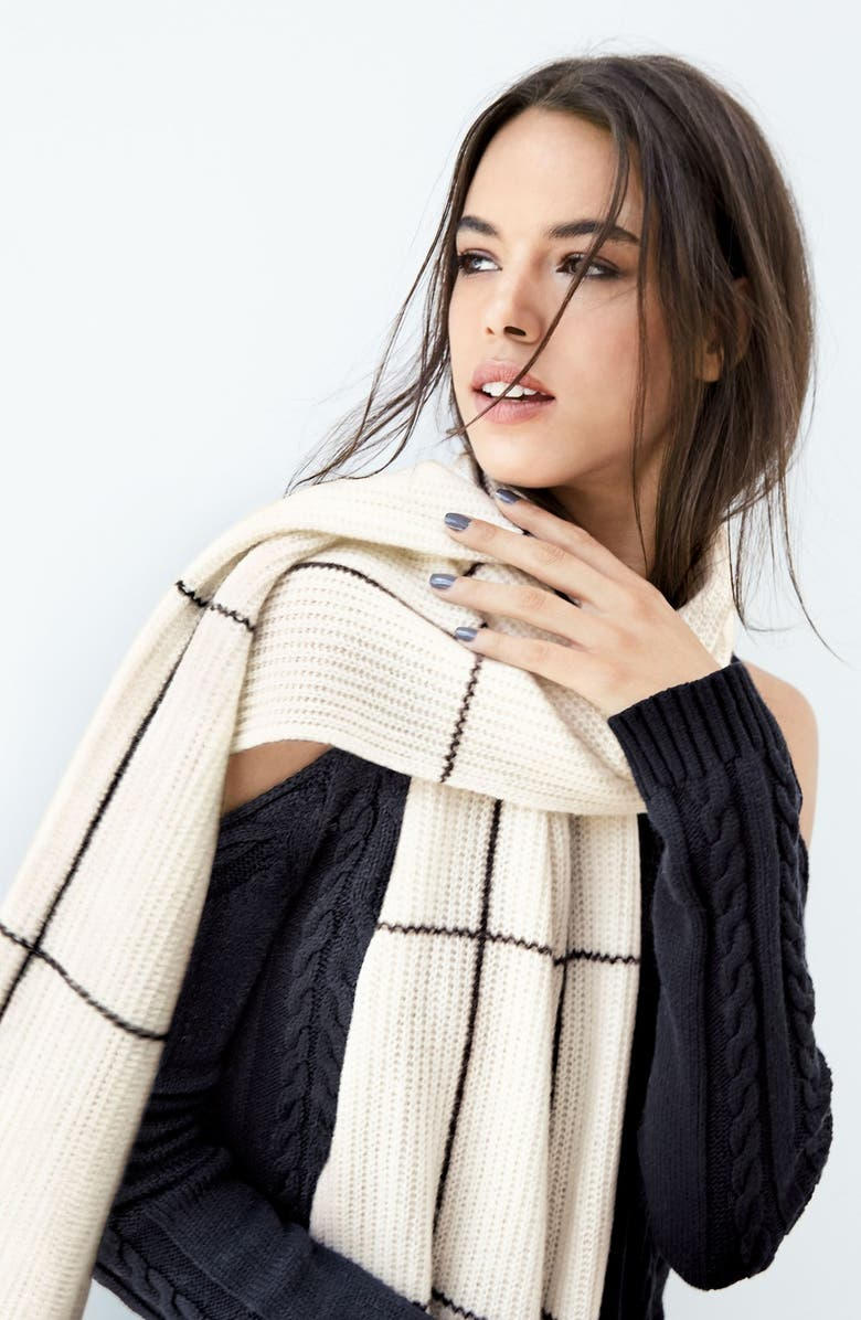 HALOGEN<SUP>®</SUP> Windowpane Wool & Cashmere Scarf, Main, color, 610