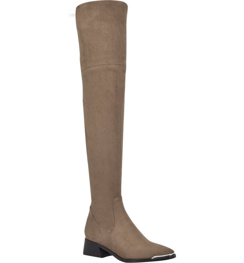 MARC FISHER LTD Darwin Over the Knee Boot, Main, color, TAUPE FABRIC
