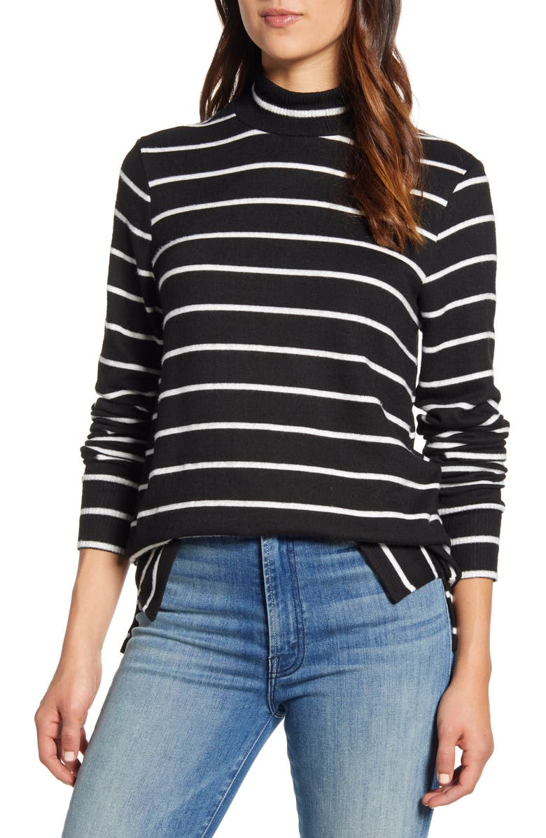 LUCKY BRAND Mock Neck Cloud Jersey Top, Main, color, 001