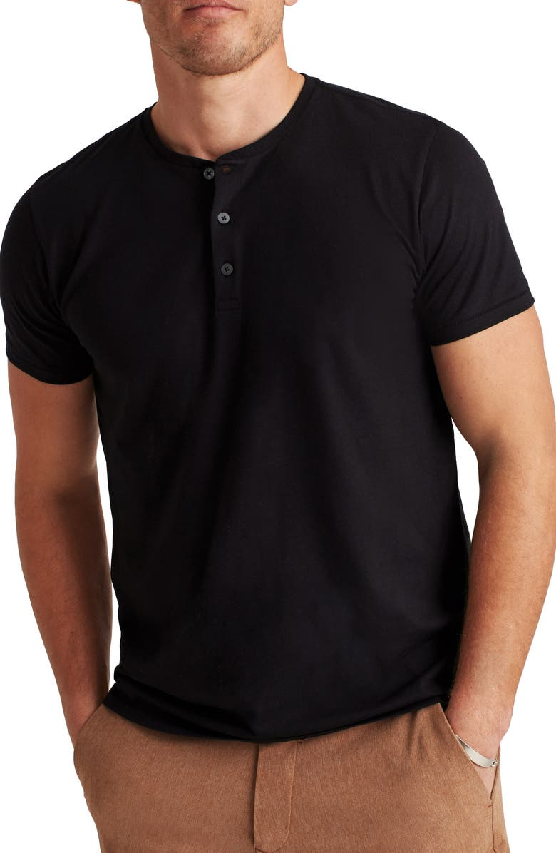 BONOBOS Slim Fit Short Sleeve Performance Henley, Main, color, JET BLACK