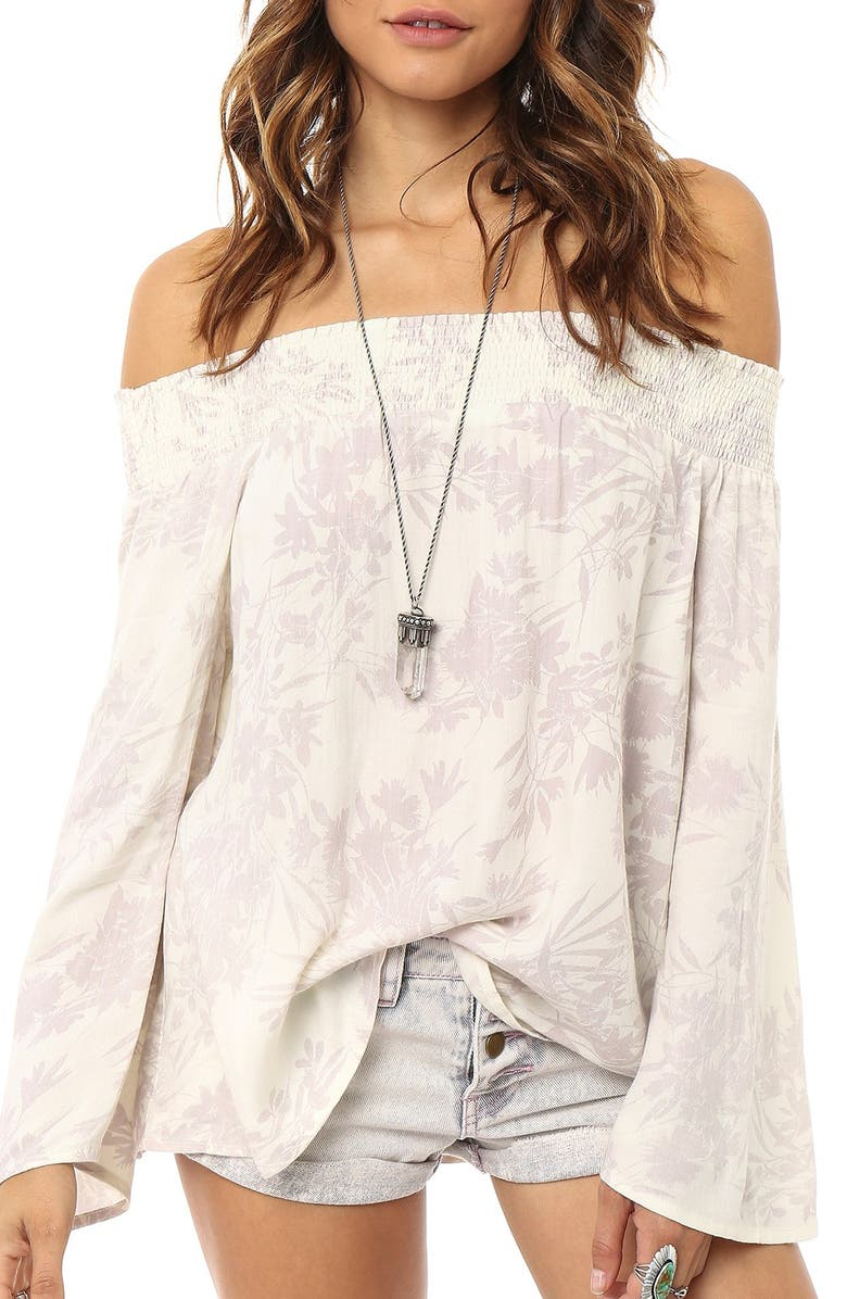 O'NEILL 'Jessie' Floral Print Off the Shoulder Top, Main, color, CREAM