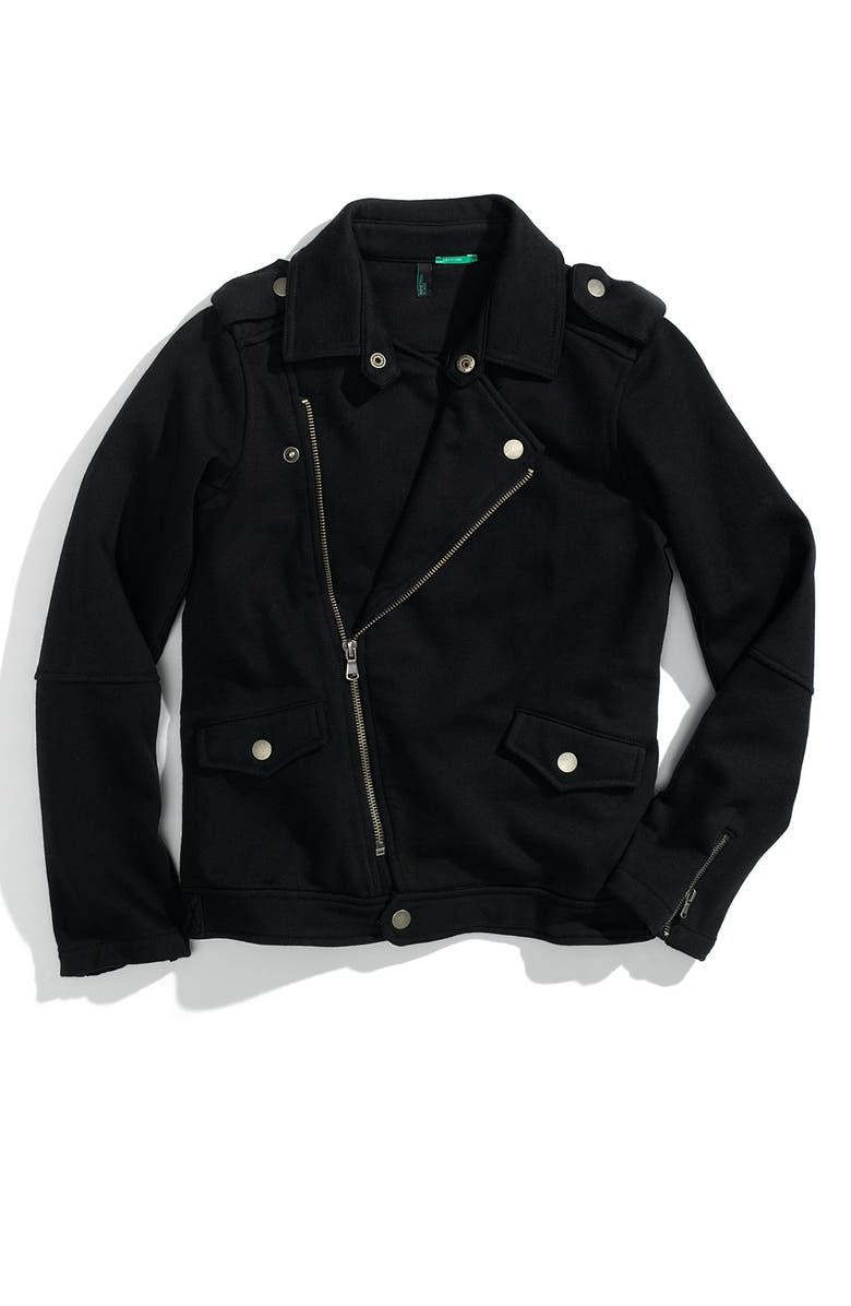 UNITED COLORS OF BENETTON KIDS Knit Motorcycle Jacket, Main, color, Black
