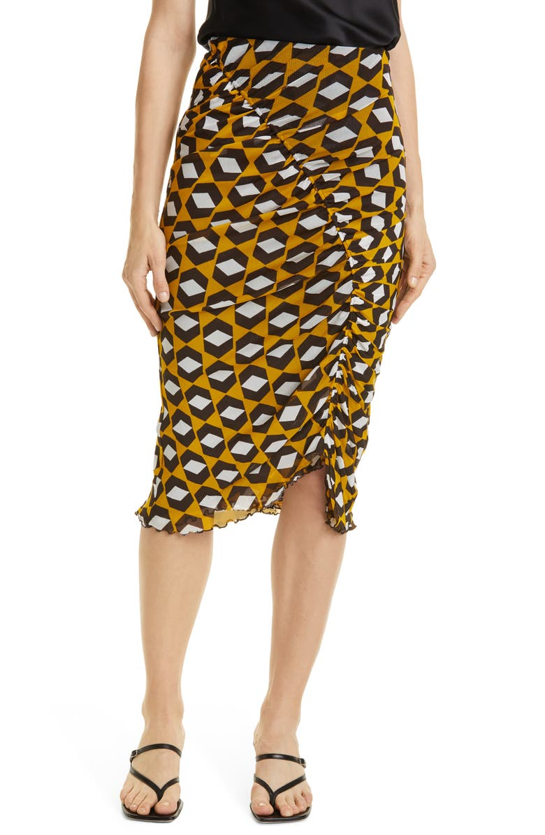 DVF Christy Ruched Mesh Skirt, Main, color, ARROW HEAD YELLOW